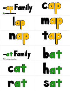 Word Families Set 1 Small Flashcards snip