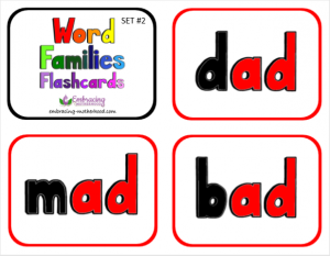 Word Families Flashcards Set #2 title page