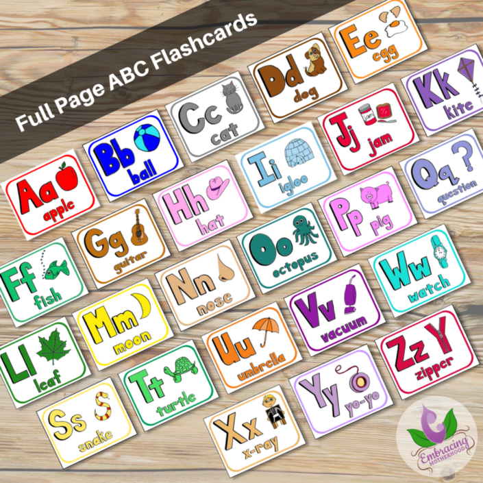 full page abc flashcards