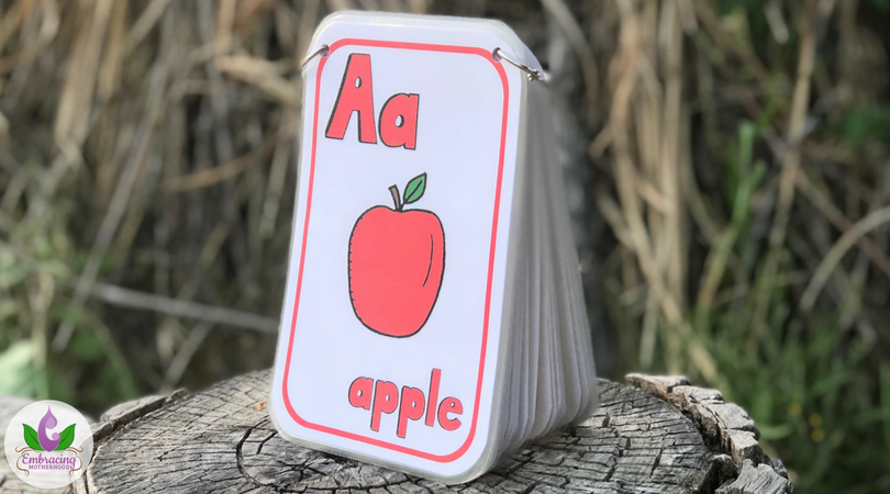Large Vertical ABC Flashcards with Rounded Corners, Laminated, and with Rings