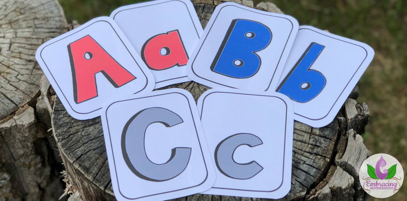ABC Individual Upper and Lowercase Letters Printed on Card Stock with Rounded Corners